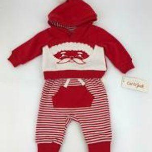 Cat & Jack Red Santa Hoodie & Pant Set NWT